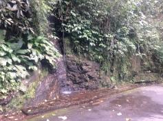 Tem algumas quedas d'água pelo caminho