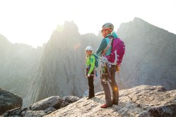 Kim Havell and Julia Heemstra take in the view from the Summit of Pingora - Cirque of the Towers in Wyoming's Wind River Range